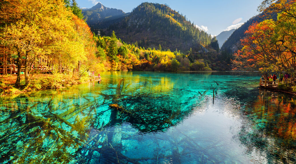 Mirror effect of a lake in the Jiuzhaigou Valley Scenic and Historic Interest Area